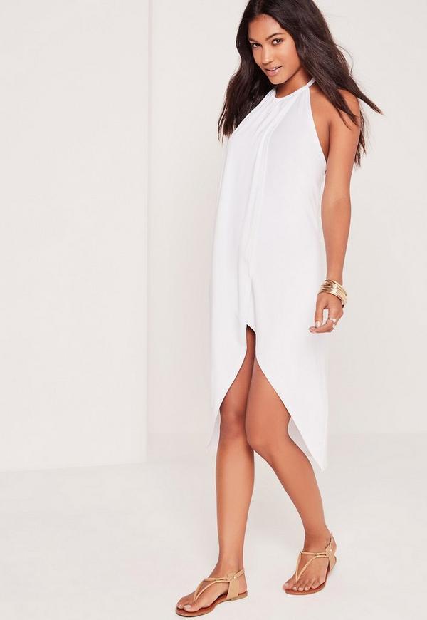 Drape Front Midi Dress White
