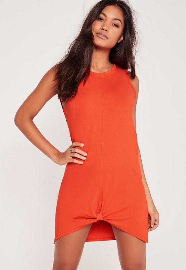 Knot Front Sleeveless Dress Burnt Orange