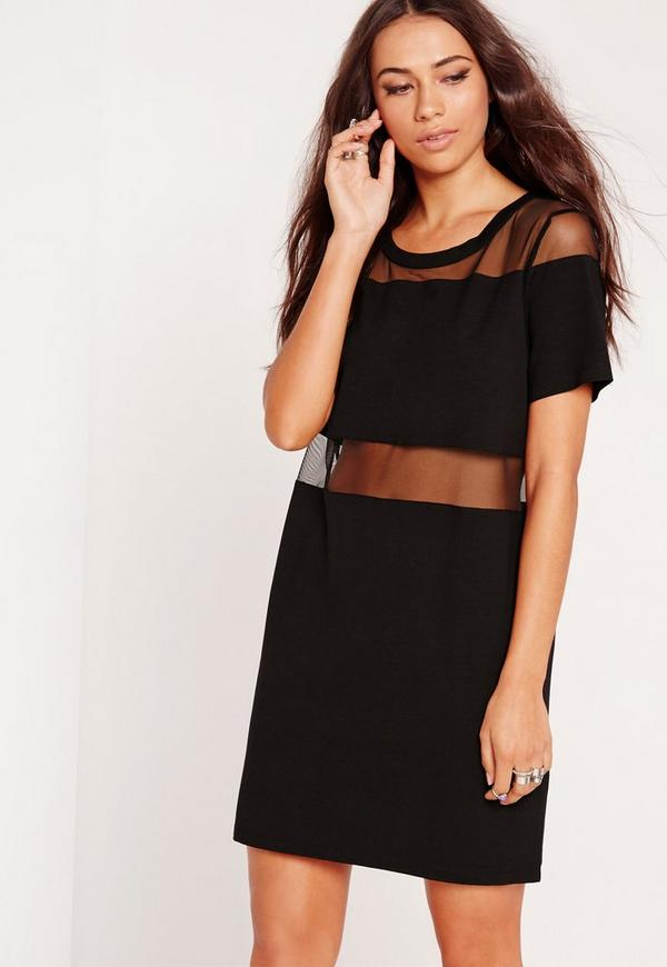 Mesh Insert Jersey Dress Black