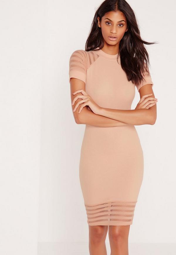 Fishnet Sleeve Bodycon Dress Nude