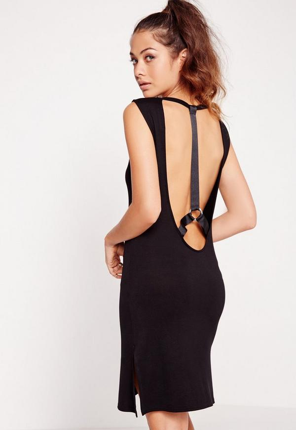 Harness Wide Strap Shift Dress Black