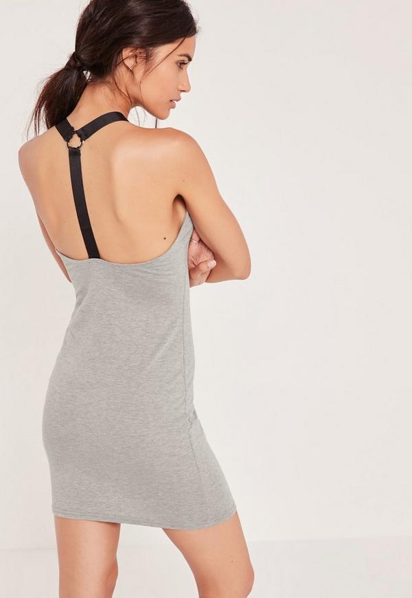 Harness Strap Sleeveless Mini Dress Grey