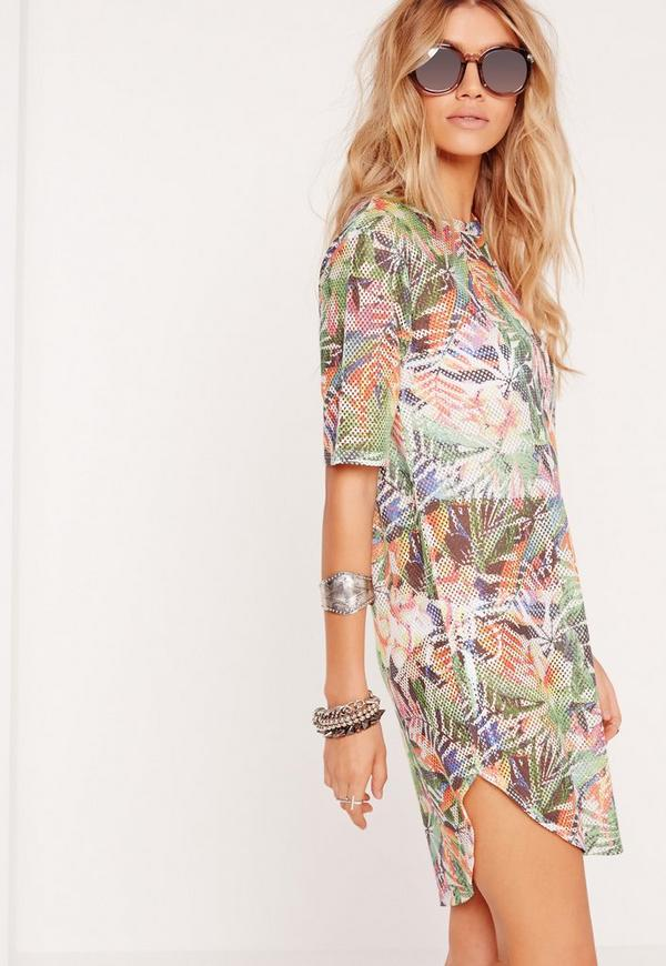Fishnet Tropical Print Curved Hem T-Shirt Dress Multi