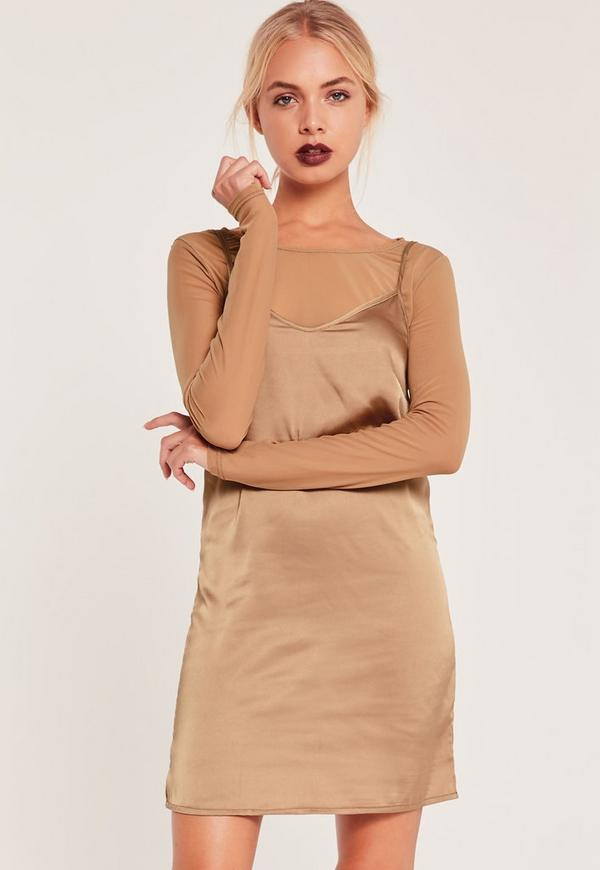 Long Sleeve Mesh Top 2 in 1 Dress Nude