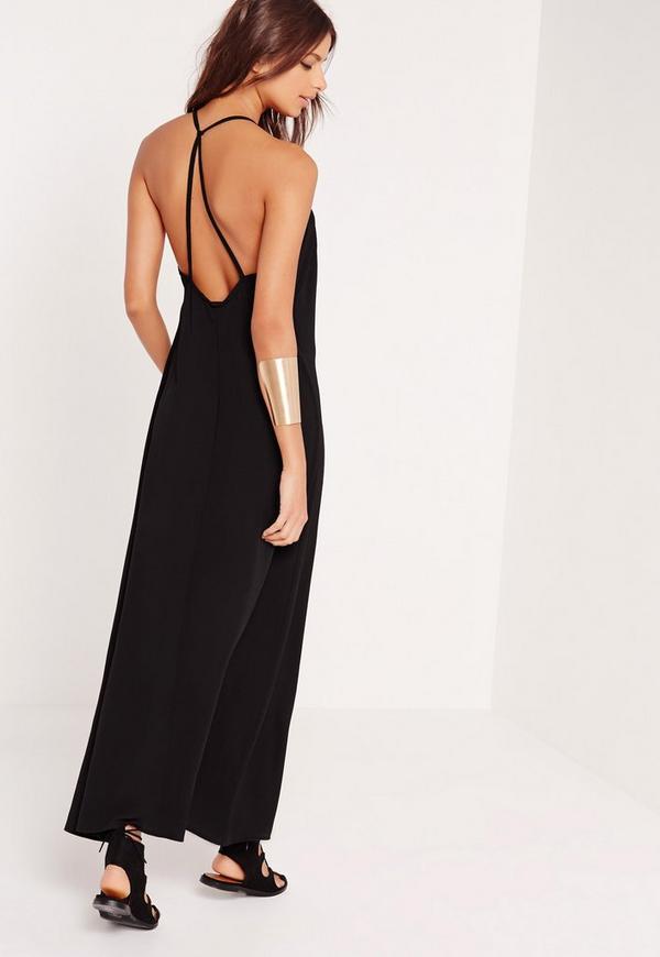 robe longue noire bretelles crois es missguided. Black Bedroom Furniture Sets. Home Design Ideas
