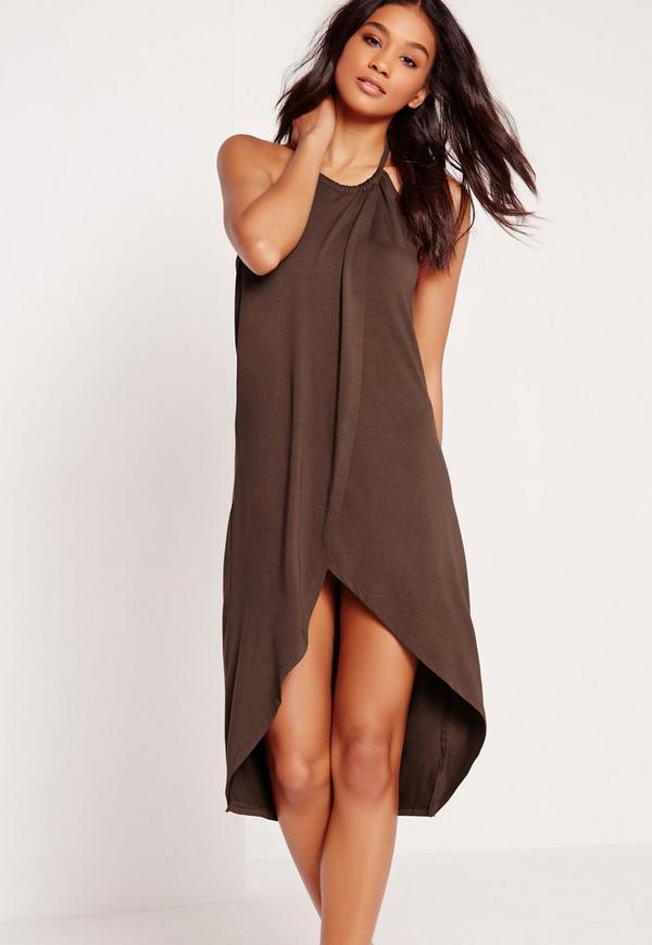 Drape Front Midi Dress Brown