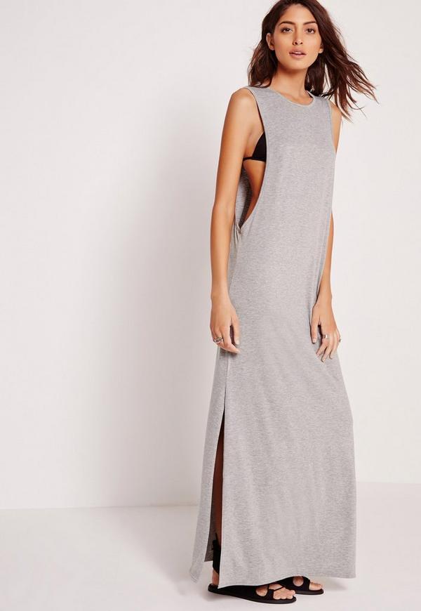 Extreme Drop Arm Hole Maxi Dress Grey