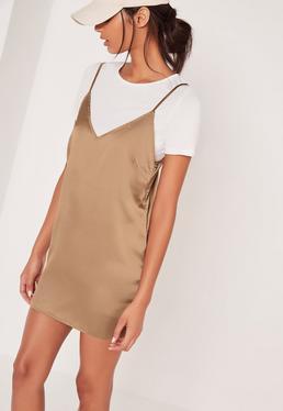Satin 2-In-1 Dress Gold