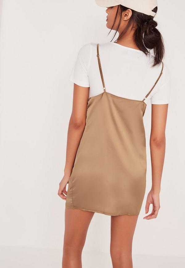 Satin 2 In 1 Dress Gold Missguided