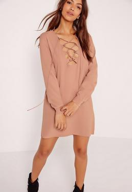 Scallop Front Lace Up Shift Dress Nude