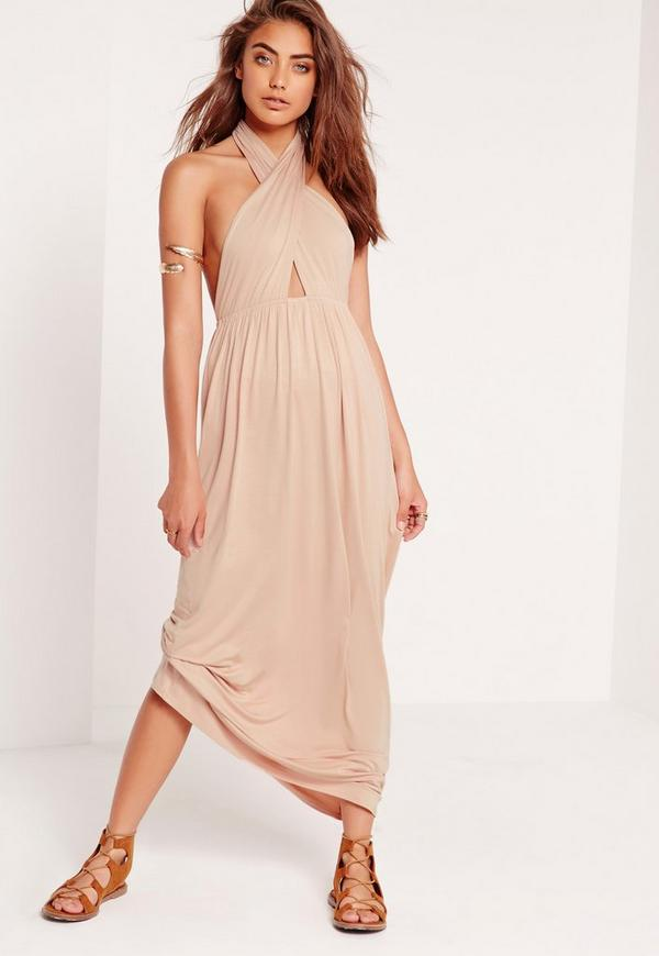 Halter Neck Cross Front Maxi Dress Nude