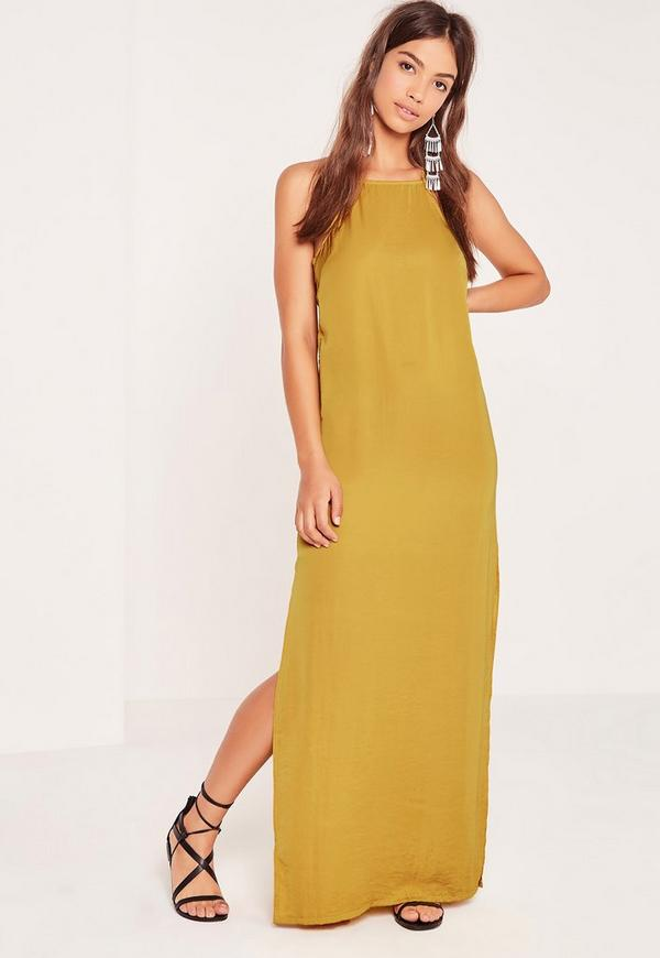 Side Tab Maxi Dress Chartreuse Green | Missguided