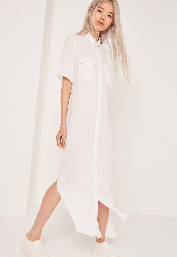 Woven Maxi Shirt Dress White
