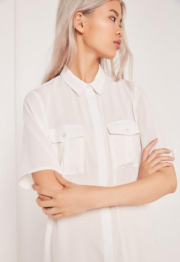 longue robe chemise blanche manches courtes missguided. Black Bedroom Furniture Sets. Home Design Ideas