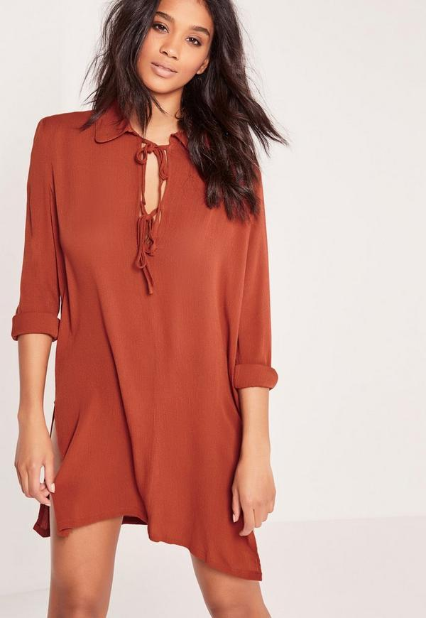 Tie Front Oversized Shirt Dress Red