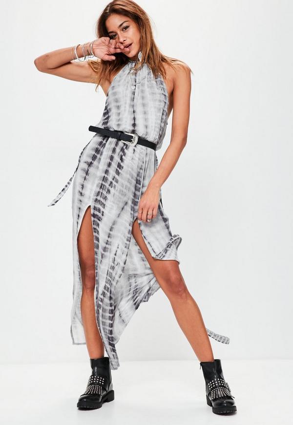Tie Dye Cheesecloth Maxi Dress Grey