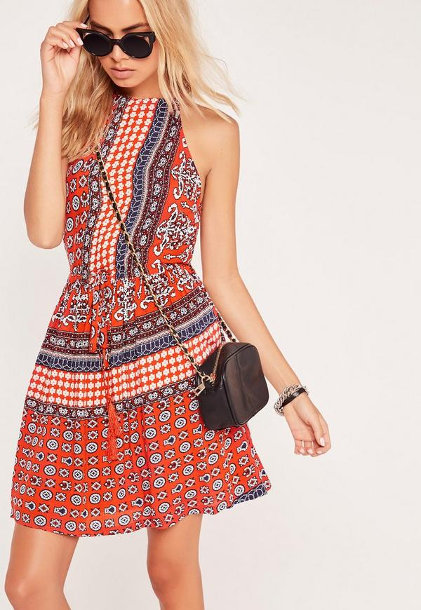 Festival Print Halterneck Skater Dress Red