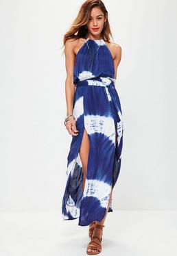 Tie Dye 90's Neck Maxi Dress Blue