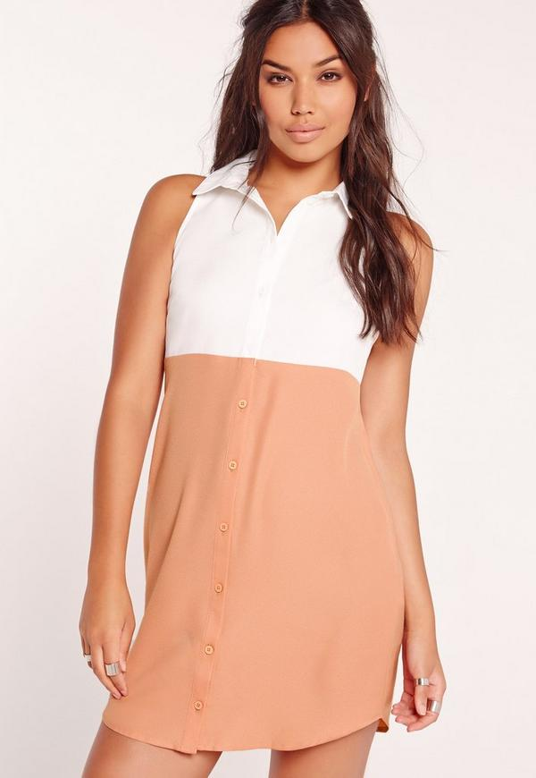 Contrast Sleeveless Shirt Dress Nude