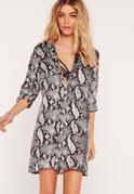 Snake Print Shirt Dress Multi