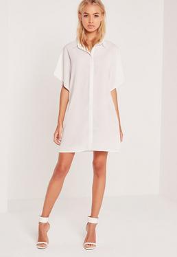 Kremowa sukienka koszulowa z szerokimi rękawami