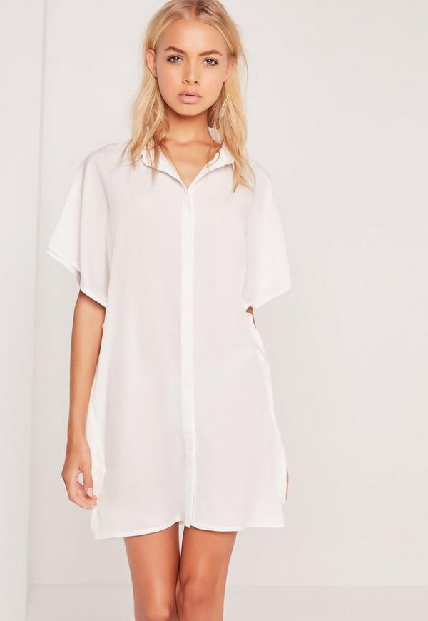 Kimono Sleeve Shirt Dress Cream Missguided