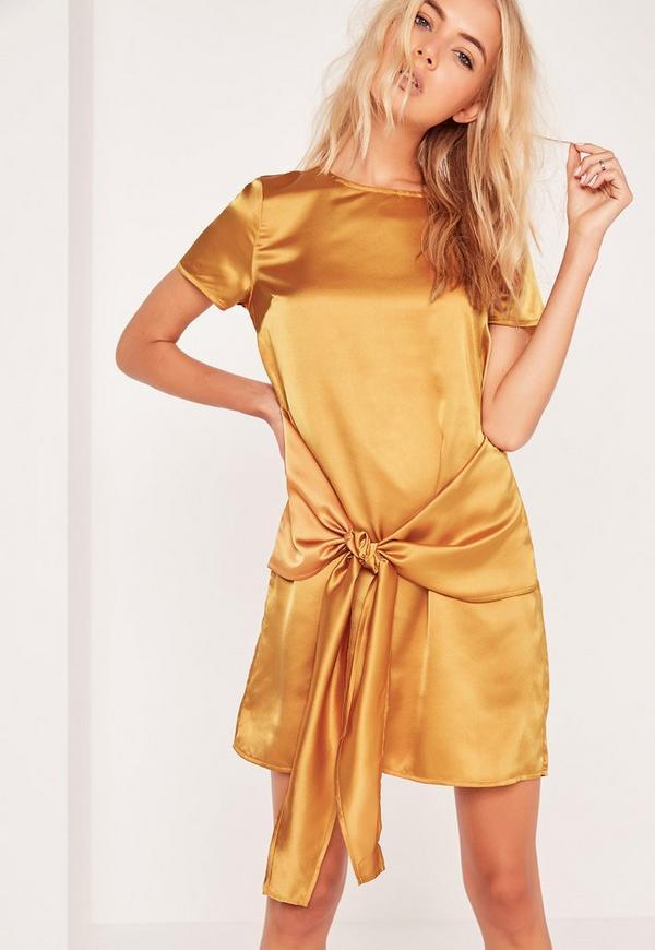 Tie Front Bottom Shift Dress Gold