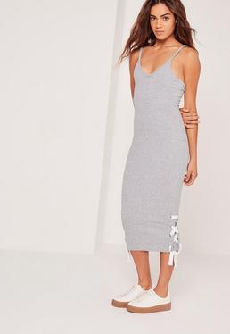 Lace Up Midi Dress Grey