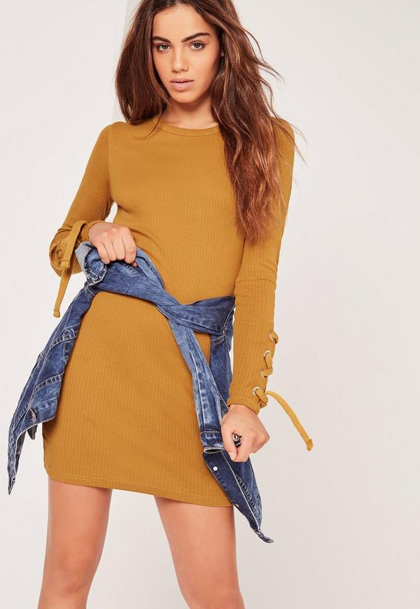 Lace Up Sleeve Bodycon Dress Lace Up Sleeve Yellow