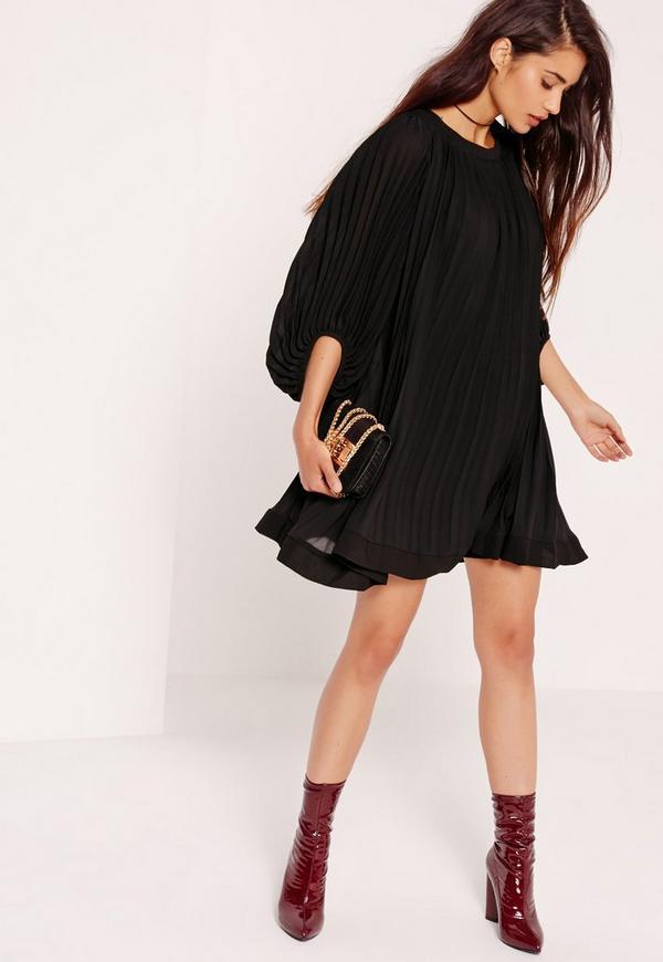 Pleated Swing Dress Black
