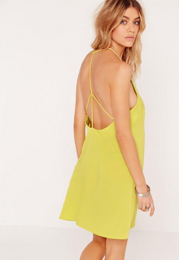 Harness Strap Back Swing Dress Chartreuse Green