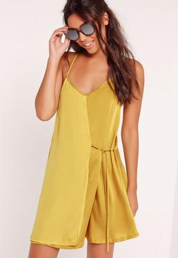 Satin Strappy Tie Side Swing Dress Green