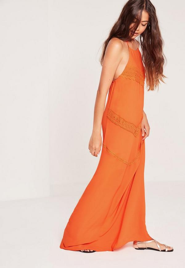 Woven Lace Trim Halterneck Maxi Dress Orange