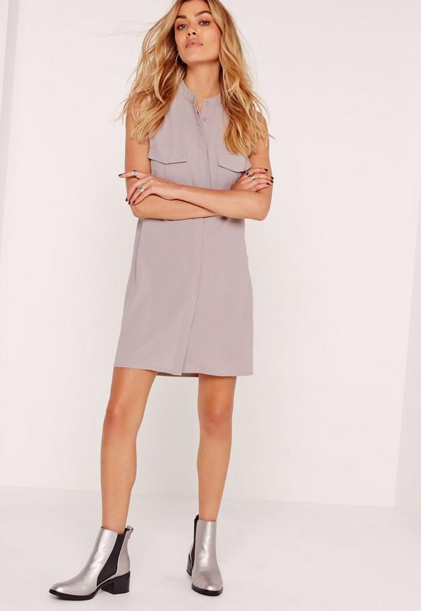 Sleeveless Pocket Shirt Dress Grey