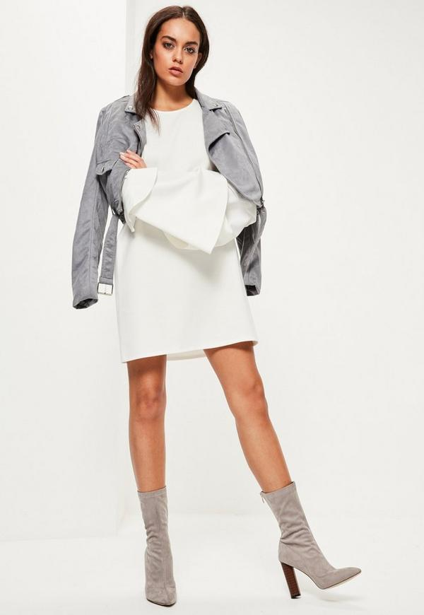 Chiffon Short Sleeve Shirt Dress White