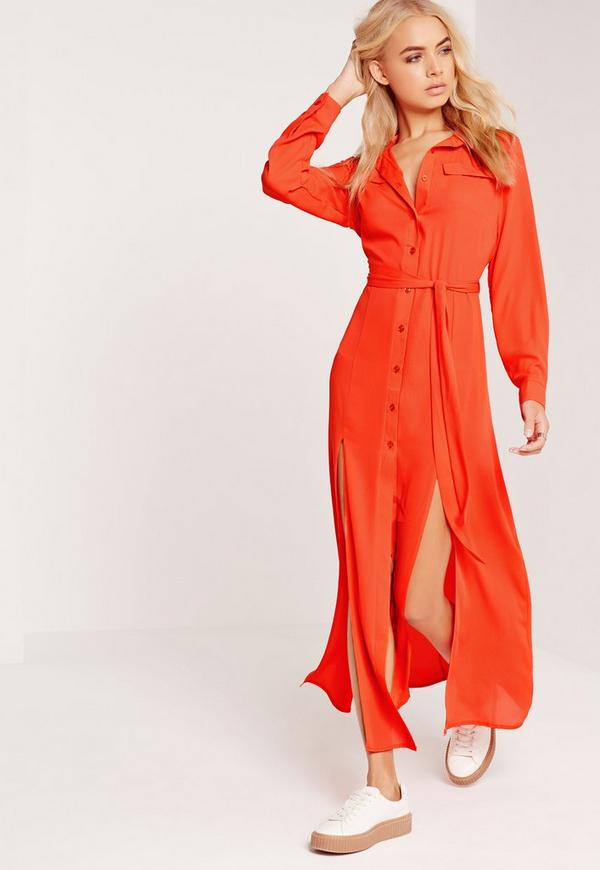 Button Up Shirt Maxi Dress Red