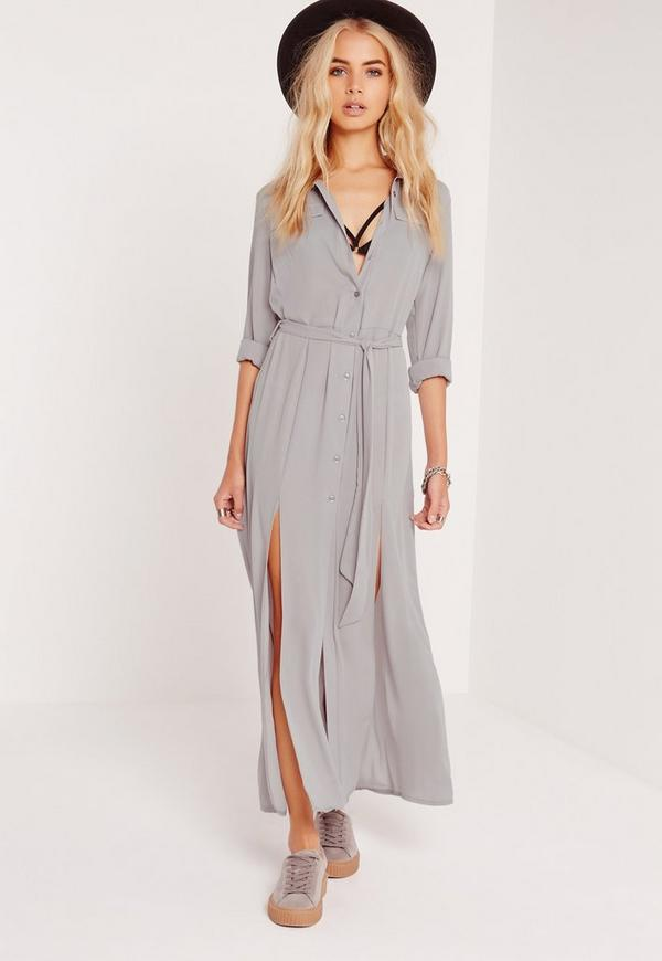 Button Up Shirt Maxi Dress Grey
