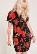 Red Printed Flower Crinkle Bodycon Dress