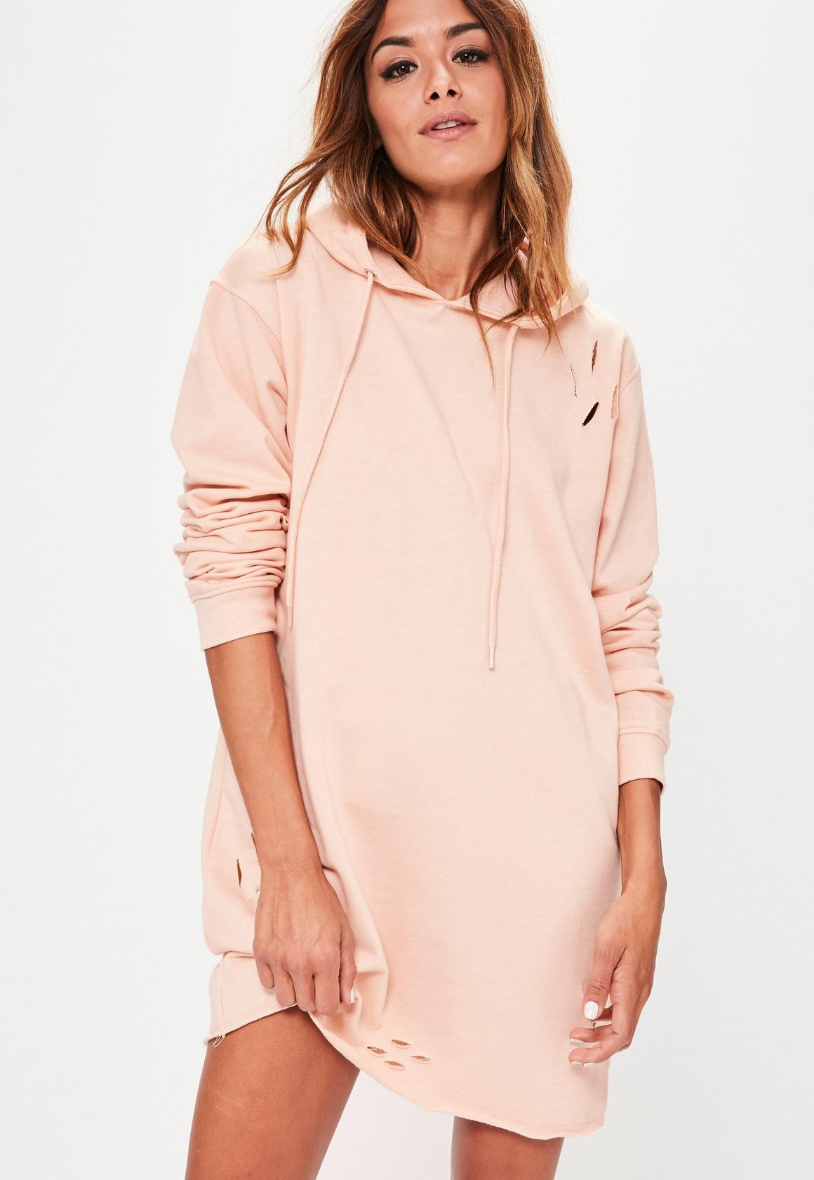 Ripped Hooded Sweater Dress Nude | Missguided
