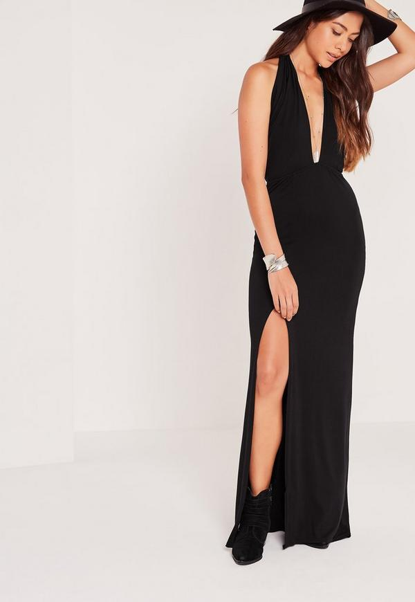Scarf Halter Neck Maxi Dress Black