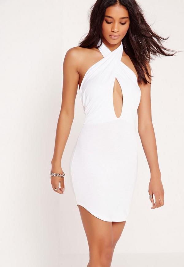 Curve Hem Scarf Neck Bodycon Mini Dress White