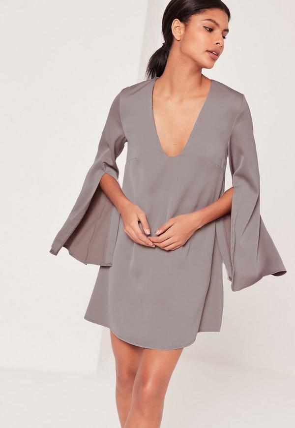 Open Split Sleeve Dress Grey