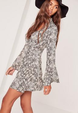 Choker Neck Wrap Snake Print Dress Multi