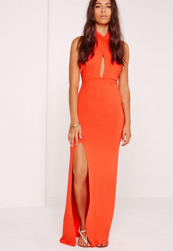 Scarf Neck Maxi Dress Orange