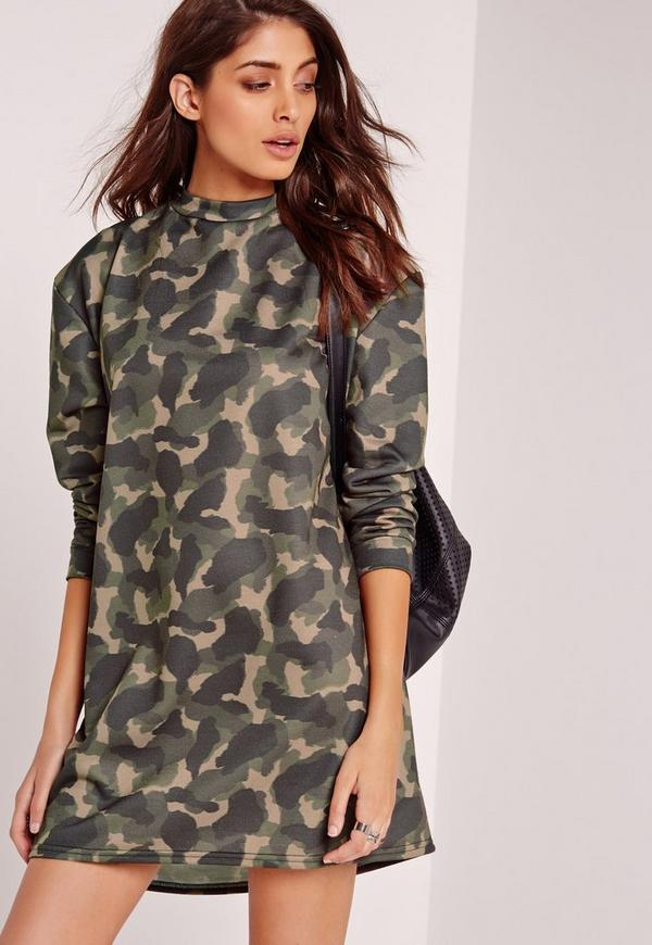 Camo Oversized Sweater Dress Green
