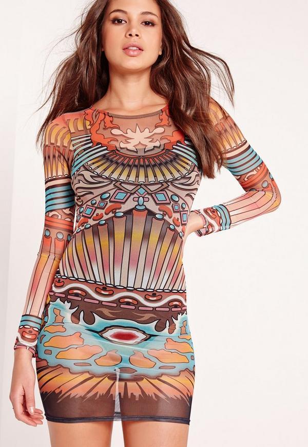 Mesh Bodycon Dress Multi