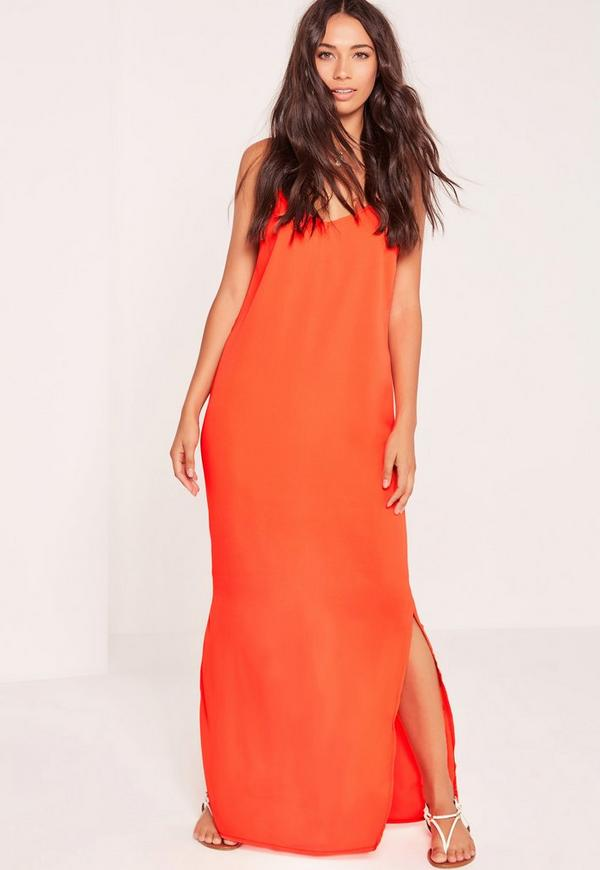 Deep V Back Maxi Dress Orange