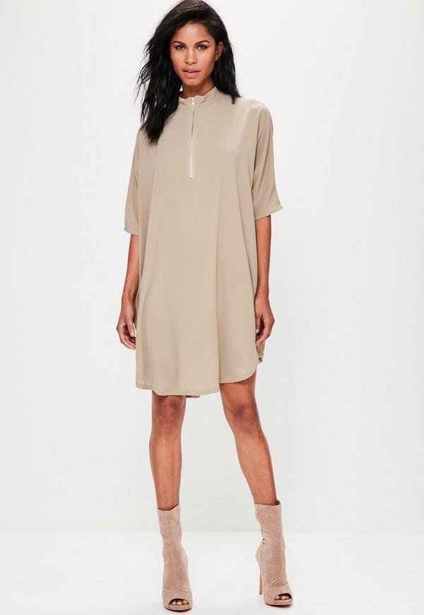 Oversized Zip Front Dress Nude