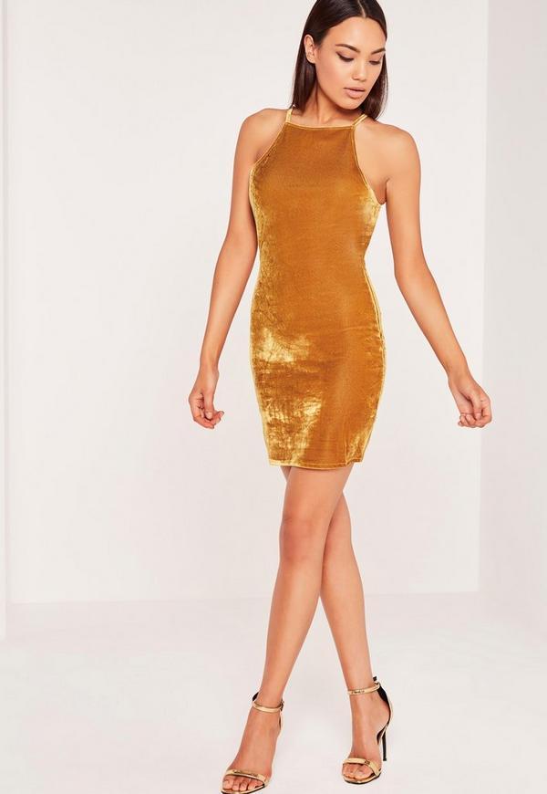 Velvet Bodycon Mini Dress Yellow