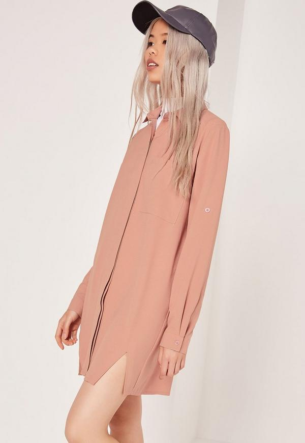 Front Split Shirt Dress Nude
